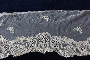 Exquisite-Late-18thC-Early-19thC-Handmade-Lace-Flounce-Applique-Net-Bridal