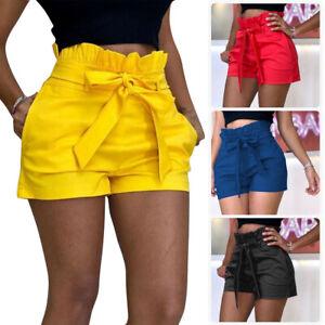 Women-Summer-Pants-Stylish-Shorts-Belt-Beach-High-Waist-Short-Trousers-Hot-Pants