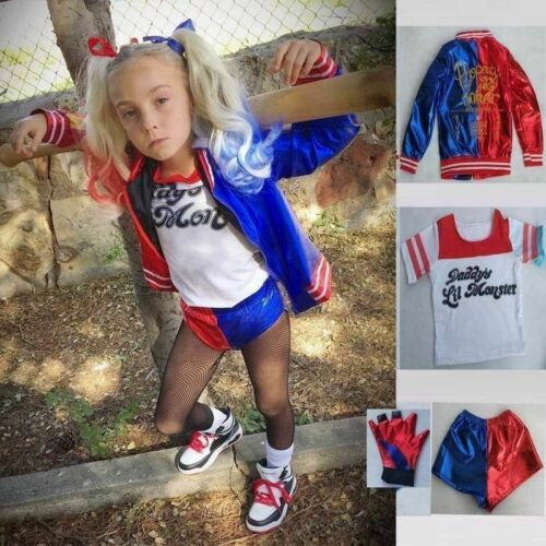 UK Halloween Girl Costume Suicide Squad Harley Quinn Kids Cosplay Fancy Dress Xm