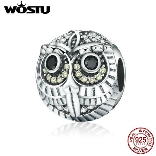 Wostu Lovely Owl S925 Sterling Silver Fit Charm Bead Bijoux Avec Zircone Cubique