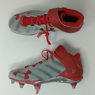 NEW Mens Under Armour C1N Mid D Football Cleats Red Silver Size 9 M