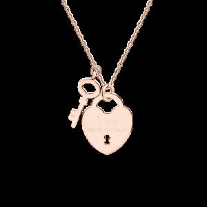 Herz Anhänger Schlüssel Liebesschloss Rose-Gold mit GRAVUR Valentinstag Geschenk