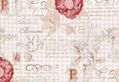 Tapete Vintage Diary 255088 Rasch Textil Blumen Ornament Karo rot rosa Landhaus