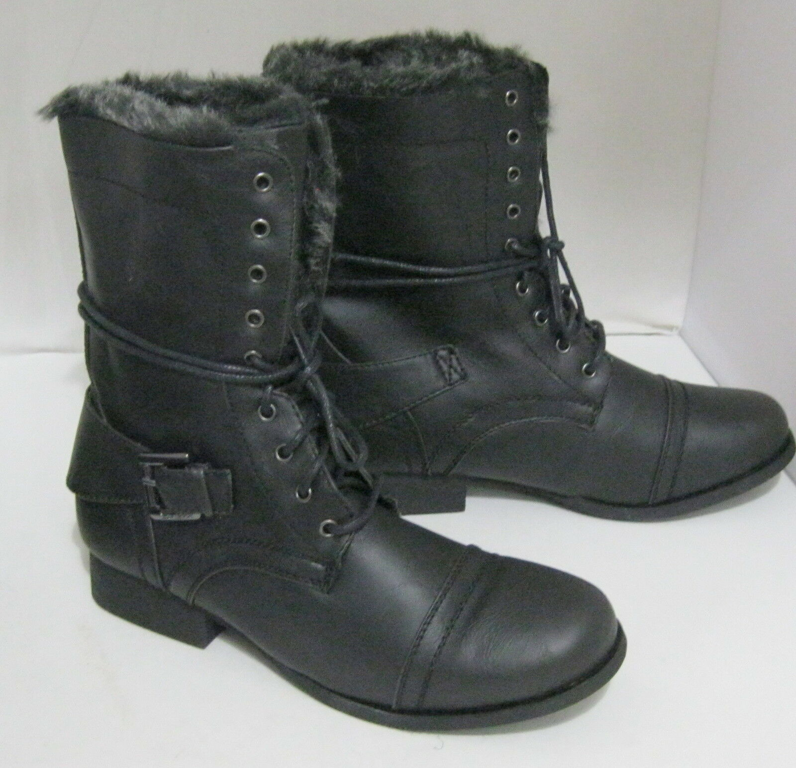 New ladies Black 1 Low Block Heel Lace Up  Sexy Ankle Boot Size 6.5