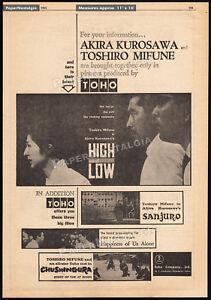 HIGH AND LOW__Original 1963 Trade AD / poster__AKIRA KUROSAWA__TOSHIRO MIFUNE