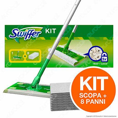 Kit Swiffer Scopa con 8 Panni a Secco per la Pulizia del Pavimento