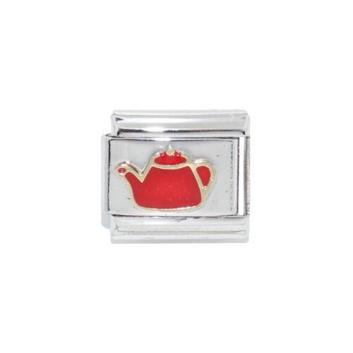 Teapot red enamel Italian Charm fits 9mm classic Italian charm bracelets