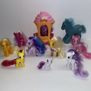 My Little Pony Mixed Lot Of 10 Ponies MLP - Vintage + Cupcake Cart
