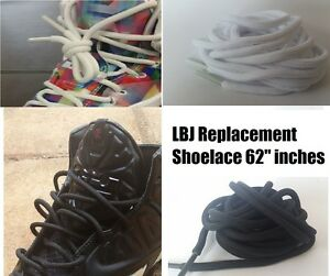 premium selection b5417 e4575 Image is loading LEBRON-LBJ-WHITE-BLACK-REPLACEMENT-SHOELACE-ROUND-ROPE-