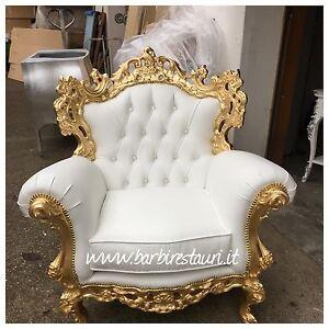 Poltrona Trono Stile Barocco Foglia Oro Swarovski Lusso Made In ...