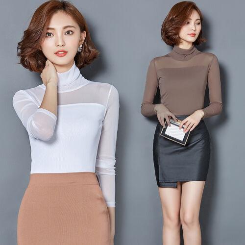 Lady Mesh Long Sleeve Shirt Choker Neck Top Stretch Slim Fit Tee Shirt Clubwear