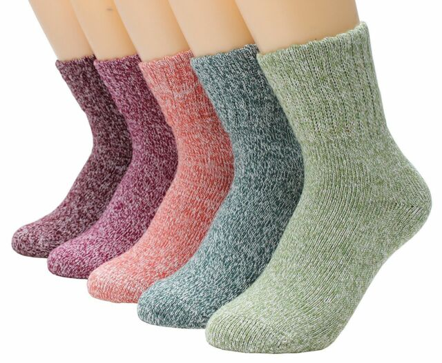 5 Pairs Womens Wool Cashmere Thick Sock Lady Soft Casual Winter Socks Xmas Gift