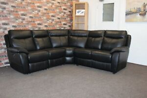 Image Is Loading F V Snug 5 Seater Electric Reclining Black Leather