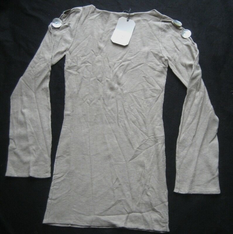 DUB QNP Damen Longshirt Minikleid ERICE  Gr. 40 Grau-Beige