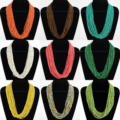 Hot Fashion Handmade Multicolor String Seed Beads Long Chain Collar Bib Necklace