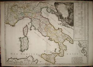1743-CARTA ITALIA,SICILIA.SARDEGNA-RARA EDIZIONE-ORIGIN