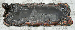 American-Antique-Tray-Metal-Art-Nouveau-WASHINGTON-D-C-Picture-Americana-Rare
