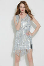 Silver SEQUINED FRINGE DRESS/SEQUIN DANCE COSTUME/DRAG QUEEN/ 6-10 (Maybe 12)