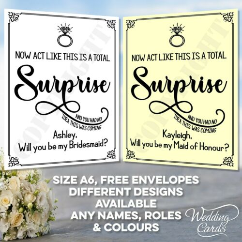 Personalised Will you be my Bridesmaid Maid of honour Chief Surprise Kraft Card