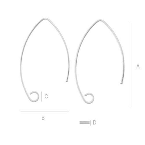 S2s14 Argent Sterling 925 Boucle d/'oreille oreille Basic Hameçon Fils 28,5 mm bonne qualité