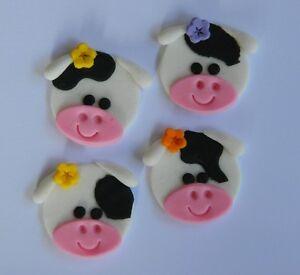 12 edible COW FARM ANIMAL cake CUPCAKE topper DECORATION ...