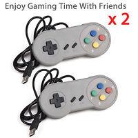 2 × Snes Usb Controller For Pc/mac Super Nintendo Games Retro Classic Gamepad Us