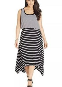 Details about Style & Co plus size striped layered look maxi dress Size 0X