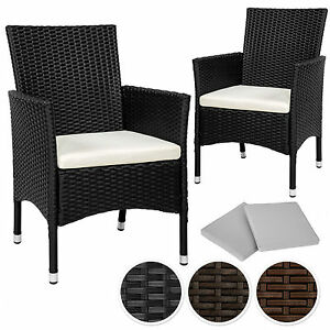 2 pezzi sedie da esterno sedia da giardino poli rattan poltrona arredo set ebay - Sedie da giardino rattan ...