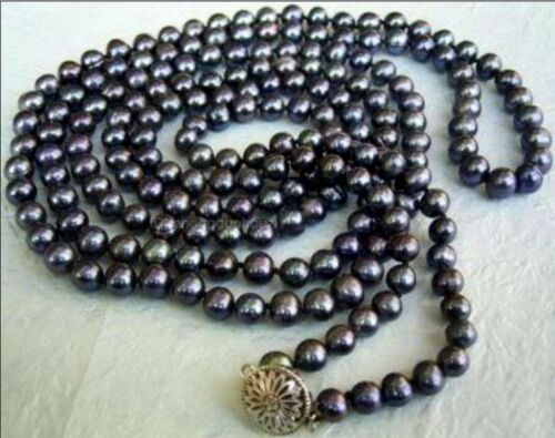 environ 127.00 cm 8-9 mm NATURAL BLACK Akoya Cultured Pearl Bijoux Collier AA Long 50 in