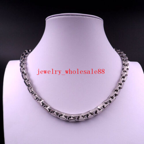 8-36/'/' 9mm Stainless steel Heavy Interlock Bones Chain Necklace Bracelet popular
