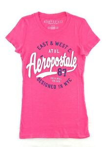 Aeropostale-Womens-T-Shirt-Graphic-Embroidered-Applique-Logos-Aero