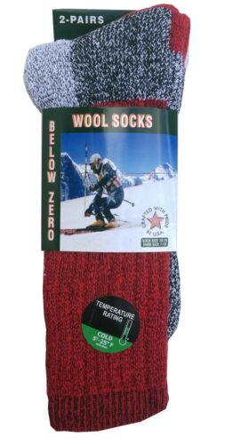 """2,4 Pairs Men/'s  Wool Thermal Socks Fits 10-13 Winter Outdoor /""""Heavy Duty/"""" USA"""