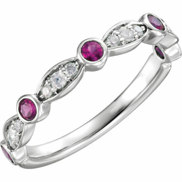 Genuine Red Ruby Gemstones & 1 6 ctw Diamonds in 14K White gold Anniversary Ring