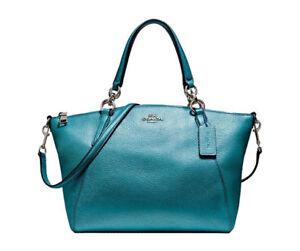 Coach F23538 Metallic Leather Small Kelsey Satchel Shoulder Bag Dark Teal 31b1afb2a7a4c