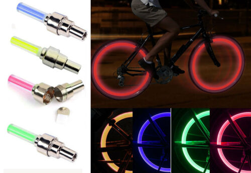 4pcs Spoke Lamp color Wheel LED Valve Cap Cycling Bike Tire Light Bicycle Motor