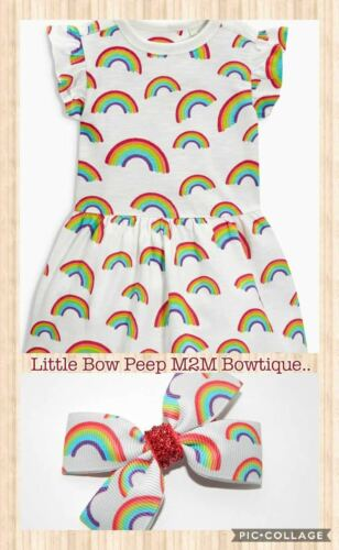 GIRLS HANDMADE DOUBLE BOW HAIR CLIP TO MATCH THE NEXT RAINBOW TUNIC//DRESS