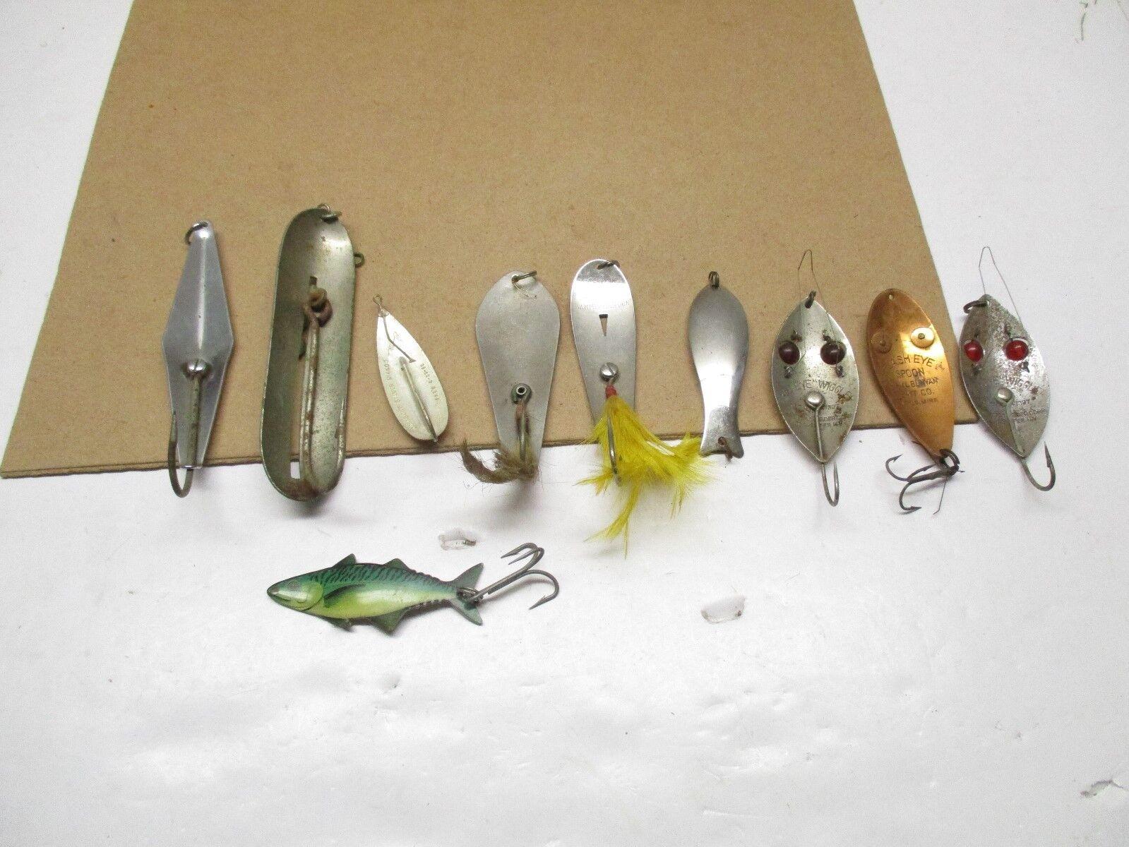 "Vintage Lure  3"" Paul Bunyan Flash Eye Fishing Lure  & 9 more set of 10 lures  simple and generous design"