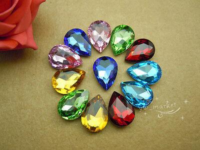 50 PCS 18mm x 25mm Glass Clear/AB Tear Drop Faceted Glass Jewels