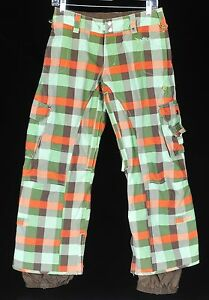 Burton-Stow-Cargo-Ski-Snowboard-Pants-Womens-XS-Short-Plaid-Green