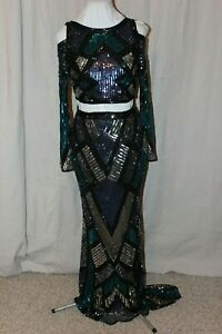 NWT-Mac-Duggal-4564-Two-piece-LONG-sleeved-fully-sequins-long-formal-gown-Size-4