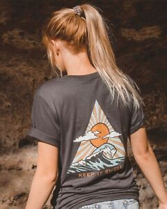 Women's Graphic T-Shirt Gray Ocean Wave Soft Eco-Friendly Size XS New