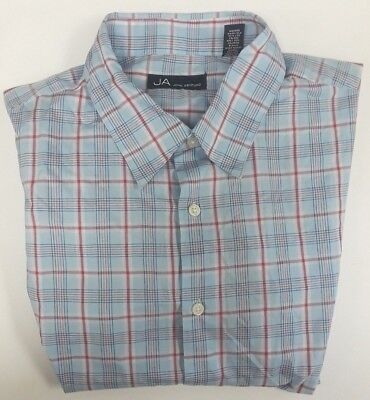 John Ashford Blue Plaid Short Sleeve Cotton Blend Dress Shirt XLT Big /& Tall