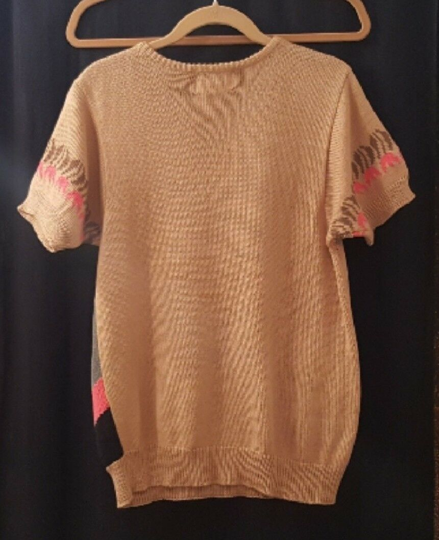 Calico short-sleeved tan or camel floral sweater, sweater, sweater, Medium 497fef