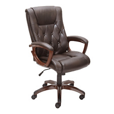 High Back Leather Executive Office Chair Big And Tall Brown Upholstered Arm Pads