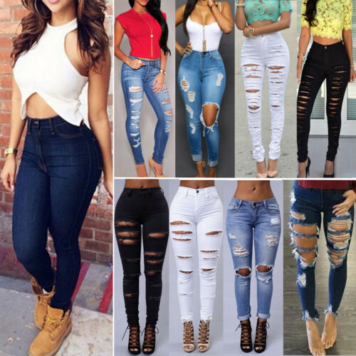 Women Denim Pants Ripped Destroyed Jeans Slim Skinny Stretch Pencil Trousers