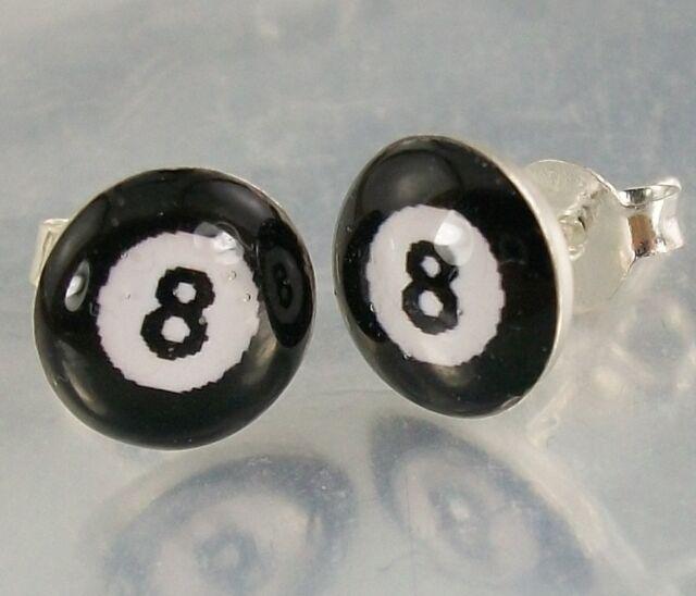 Sterling Silver black and white Resin 8 Ball Design Stud Earrings 8mm Diameter