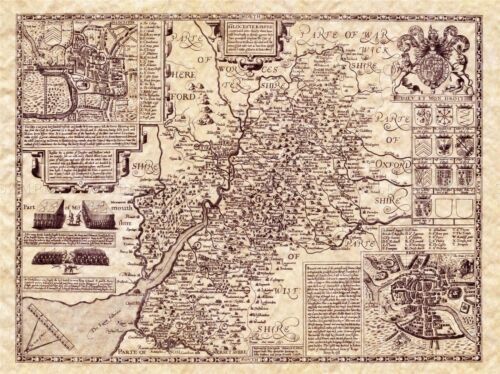 MAP ANTIQUE 1610 SPEED GLOUCESTERSHIRE HUNDREDS LARGE REPRO POSTER PRINT PAM1614