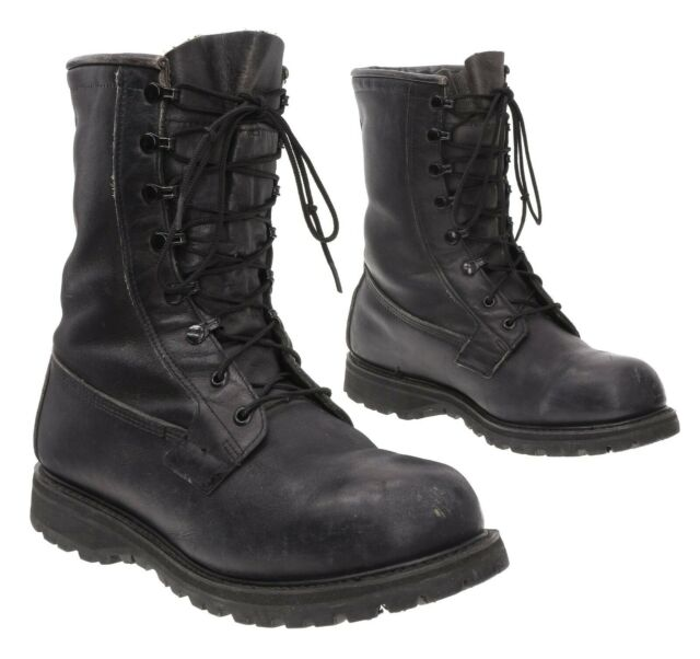 Cold Weather Combat Boots 10 W Mens Gore-Tex Black Leather Hiking Boots Military