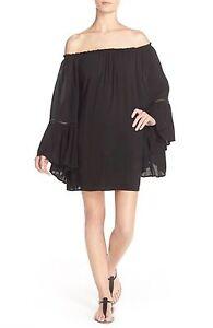ed774042cb Elan Black Crochet Off the Shoulder Bell Sleeve Swim Cover-Up Tunic ...
