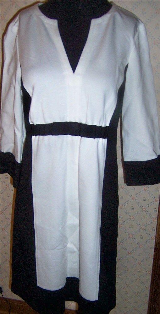 Dress Farbeblock Weiß schwarz Nanette Lepore Death Defying Misses Größe 10 New